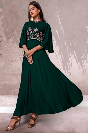 Dark Green Heavy Rayon Gown