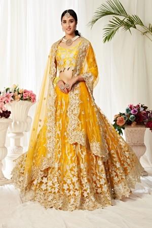 Yellow Heavy Net Lehenga Choli