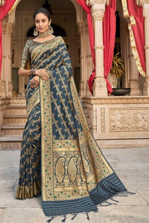 Grey Banarasi Silk Saree with Blouse