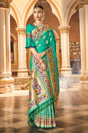 Turquoise Banarasi Silk Saree with Blouse