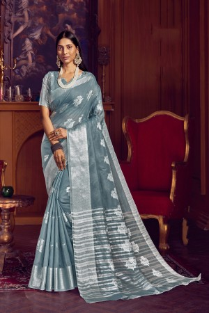 Grey Linen Saree with Blouse