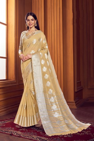 Beige Linen Saree with Blouse