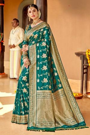 Teal Soft Silk Saree with Blouse