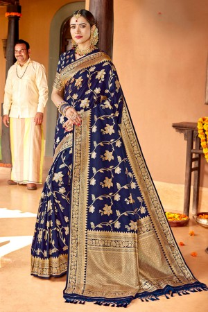 Navy Blue Soft Silk Saree with Blouse