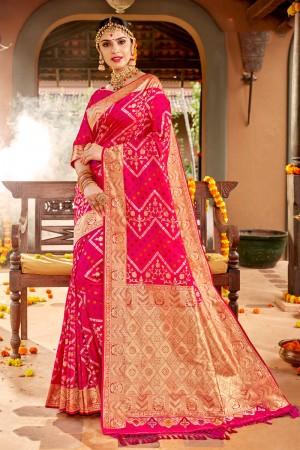 Rani Pink Soft Silk Saree with Blouse