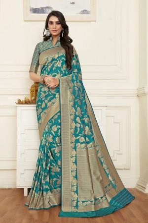 Firozi Banarasi Silk Saree with Blouse
