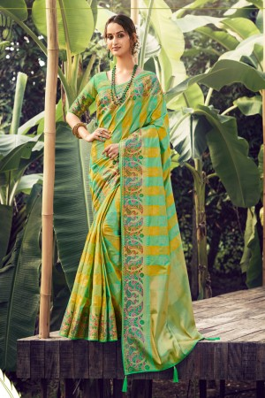 Mint Green Silk Saree with Blouse