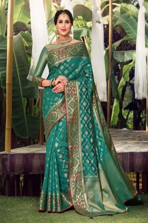Light Teal Silk Saree with Blouse