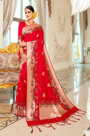 Red Silk Saree with Blouse