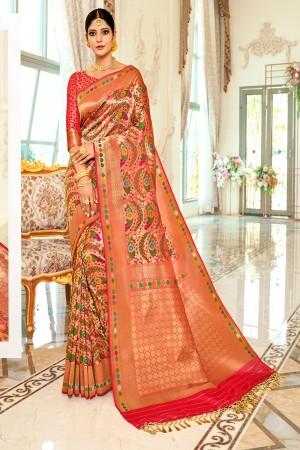 Multicolor Silk Saree with Blouse