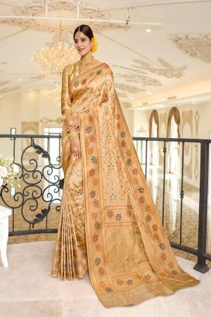 Cream Silk Saree with Blouse
