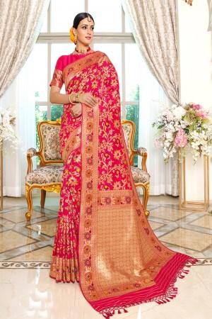 Rani Pink Silk Saree with Blouse