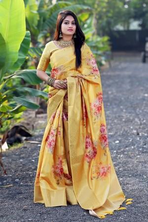 Yellow Jacquard Silk Saree with Blouse