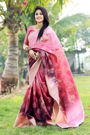 Multicolor Jacquard Silk Saree with Blouse