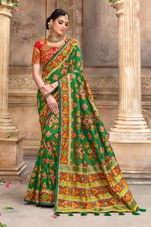 Green Pure Silk Saree with Blouse