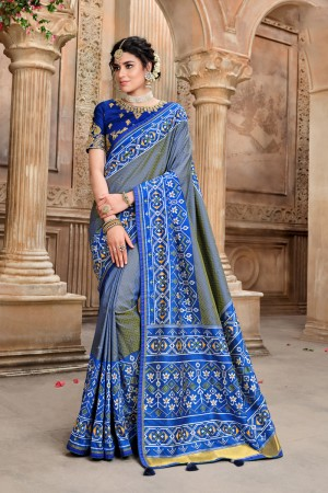 Blue Pure Silk Saree with Blouse