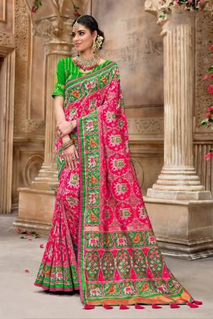 Rani Pink Pure Silk Saree with Blouse