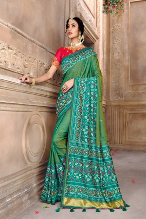 Light Teal Pure Silk Saree with Blouse