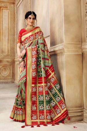 Multicolor Pure Silk Saree with Blouse