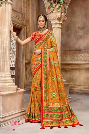 Orange Pure Silk Saree with Blouse