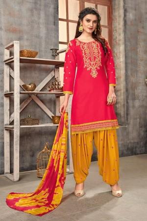 HotPink Glaze Cotton Dress Material