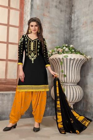 Black Glaze Cotton Dress Material