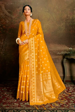 Yellow Soft Silk Saree with Blouse