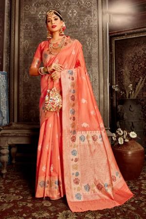 Peach Soft Silk Saree with Blouse