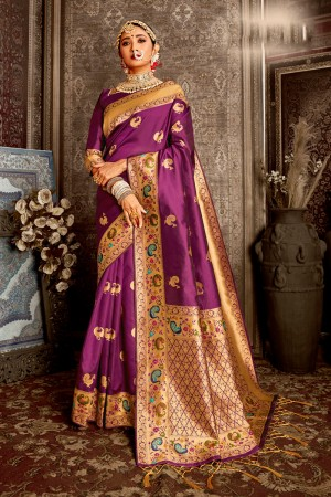 Purple Soft Silk Saree with Blouse