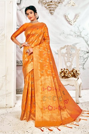Orange Soft Silk Saree with Blouse