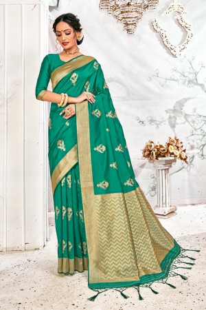 Teal Soft Silk Saree with Blouse