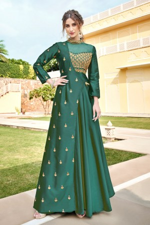 Green Soft Taffeta Silk Gown