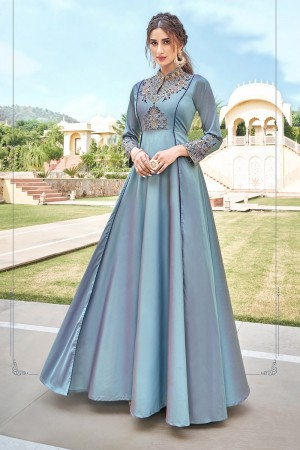 Light Blue Soft Taffeta Silk Gown