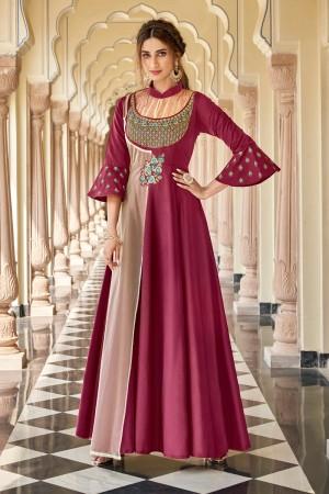 Magenta & Peach Soft Taffeta Silk Gown