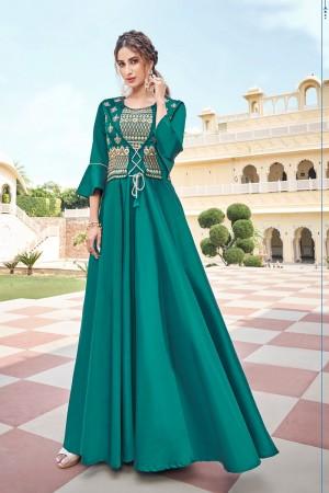 Firozi Soft Taffeta Silk Gown