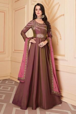 Brown Heavy Soft Silk Salwar Kameez