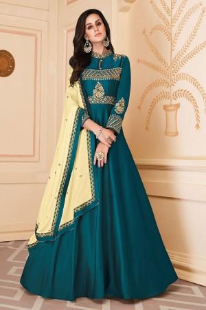 Teal Heavy Soft Silk Salwar Kameez