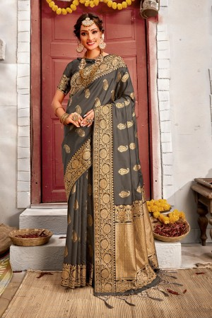Dark Grey Banarasi Silk Saree with Blouse