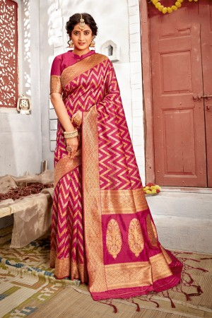 Magenta Banarasi Silk Saree with Blouse