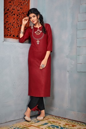 Maroon Heavy Rayon Top with Bottom