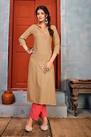 Beige Heavy Rayon Top with Bottom