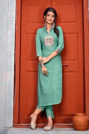 Light teal Heavy Rayon Top with Bottom