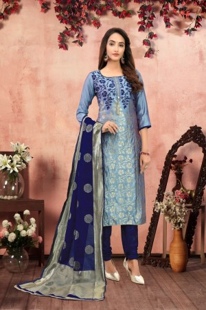 Light Blue Banarasi Jacquard Dress Material
