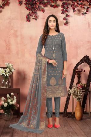 Grey Banarasi Jacquard Dress Material