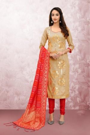 Beige Glass Cotton Dress Material
