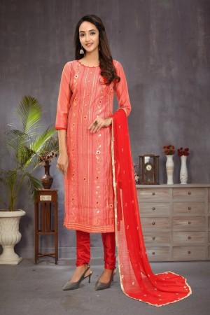 Peach Modal Chanderi Dress Material