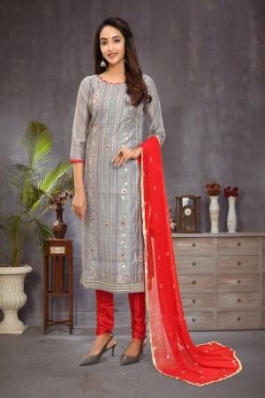 Grey Modal Chanderi Dress Material