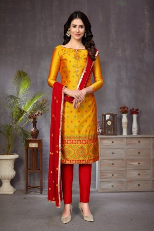 Yellow Banarasi Jacquard Dress Material