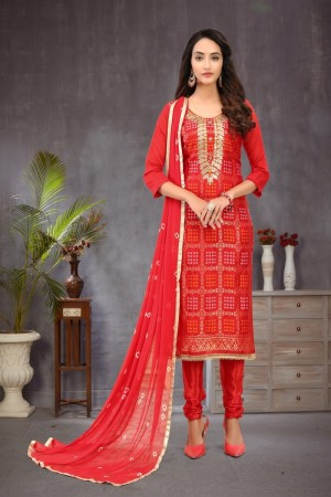 Red Banarasi Jacquard Dress Material