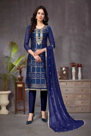 Blue Banarasi Jacquard Dress Material